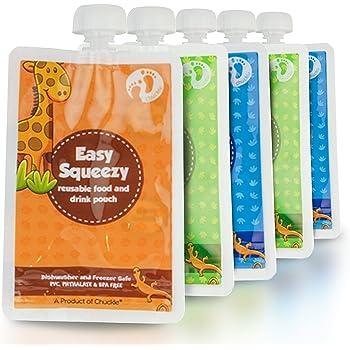 Gourdes de nourriture r/éutilisables Squooshi Kit familial de d/émarrage