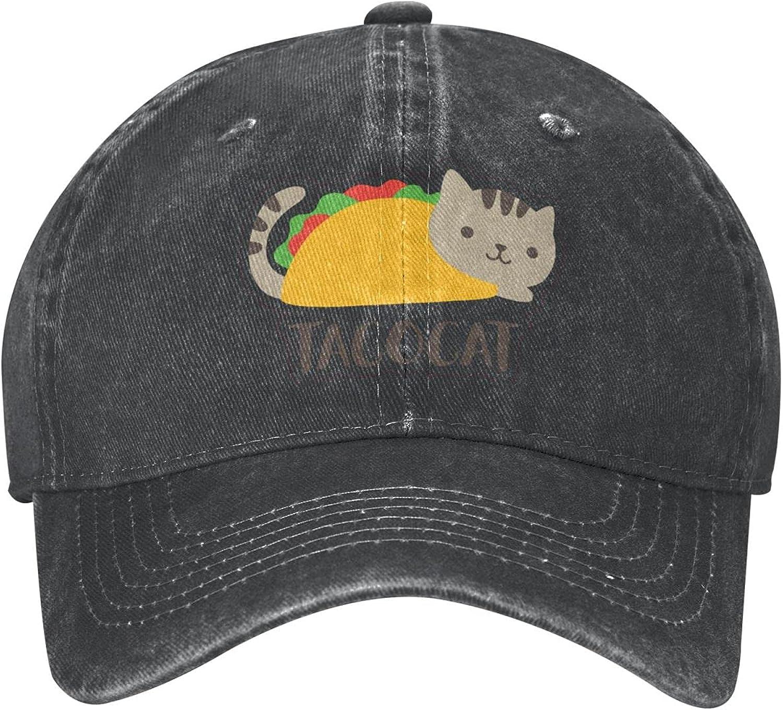 Cute Taco Cat Unisex Cowboy Hat Baseball Caps Adjustable Outdoor Sports Golf Denim Cap Black