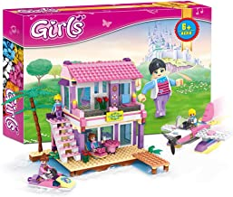 COGO Dream Girls Blocks Educational Toys Pink Beach House Friends Villa Building Blocks for Kids Construction Toys Building Bricks Play Set 423 Pcs 4515