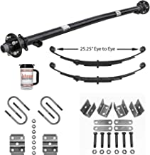 Rockwell American 3,500 lb Idler Trailer Axle w/Leaf Springs, U-Bolts & Hanger Kit- 5x4.5 Bolt Pattern (73
