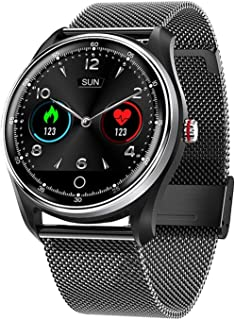Gymqian Smart Watch Fitness Tracker Reloj Y Ritmo Cardíaco Monitor de Presión Arterial Ip68 Impermeable Bluetooth Smart Watch Sports Activity Tracker-Steel Strip Sier clásico/Stee