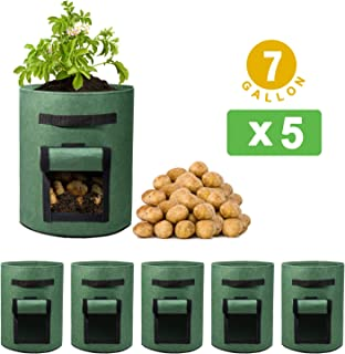 Delxo 5 Pack 7 Gallon Potato Grow Bags Two SidesVelcro Window Vegetable Grow Bags, Double Layer Premium Breathable Nonwoven Cloth for Potato/Plant Container/Aeration Fabric Pots with Handles