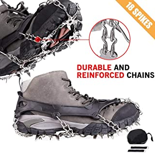 Cycorld Crampons Traction Ice Cleats with 18 Teeth Stainless Steel, Ice Snow Spikes Shoes Grip, Crampons for Hiking Boots, Climbing Snowshoe Chain Tracks