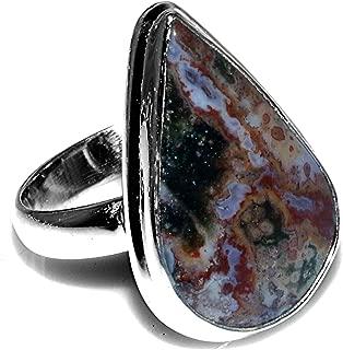 Sterling Silver Handmade Ocean Jasper Ring for Womens and Girls