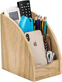 Remote Control Holder, Vintage Rustic Wooden TV Remote Caddy Organizer, Desktop Office Supplies Pen Pencil Phone Storage Holder with 3 Spacious Compartments for Table, Desk