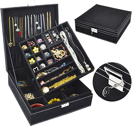 Jewelry Box for Women, QBeel 2 Layer 36 Compartments Necklace Jewelry Organizer with Lock Jewelry Holder for Earrings...