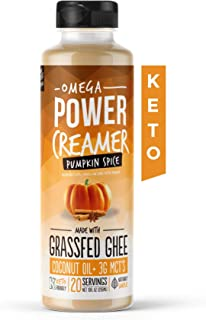 Omega PowerCreamer - Pumpkin Spice Keto Coffee Creamer with MCT Oil, Grass-fed Ghee, Organic Coconut Oil, Stevia - Liquid Butter Blend - Paleo, Ketogenic, Zero Carb, Sugar Free, 10 fl oz (20 servings)