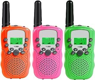 MOSUNECE Walkie Talkies for Kids, Kids Walkie Talkies 3 Pack, 3 Miles Long Range 22 Channels 2 Way Radio, Gifts for Kids Boys Girls, Outdoor Toys Pink/Orange/Green T-388