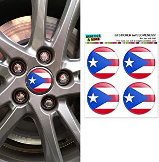 Graphics and More Puerto Rico Puerto Rican Flag Wheel Center Cap 3D Domed Stickers Badges - Set of 4