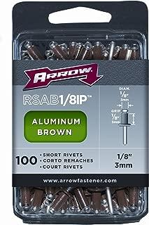 Arrow Fastener RSAB1/8IP Short Brown Aluminum 1/8-Inch Rivets, 100-Pack