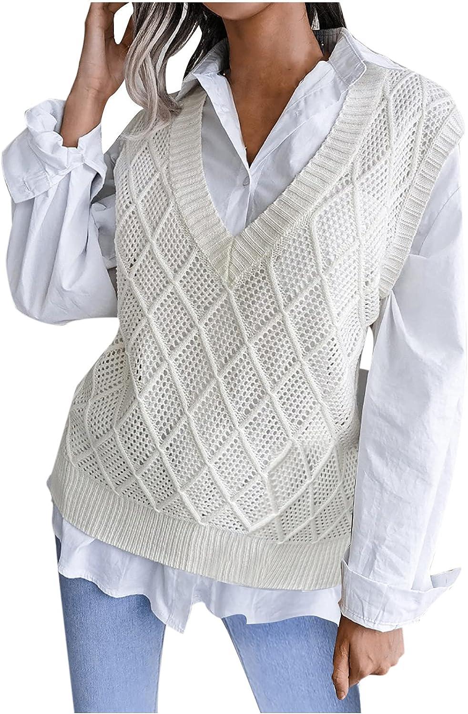 JIANGZHo Sweater Vest for Women V Neck Knitwear Tank Top Streetwear Preppy Style Stripe Knitwear Tank Top for Teen Girls