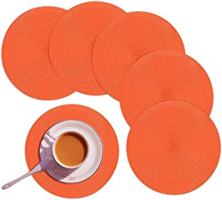 Homcomoda Round Placemats Set of 6 Heat Resistant Round Braided Woven Place Mats for Dining/Kitchen Table Orange Table Mats 15