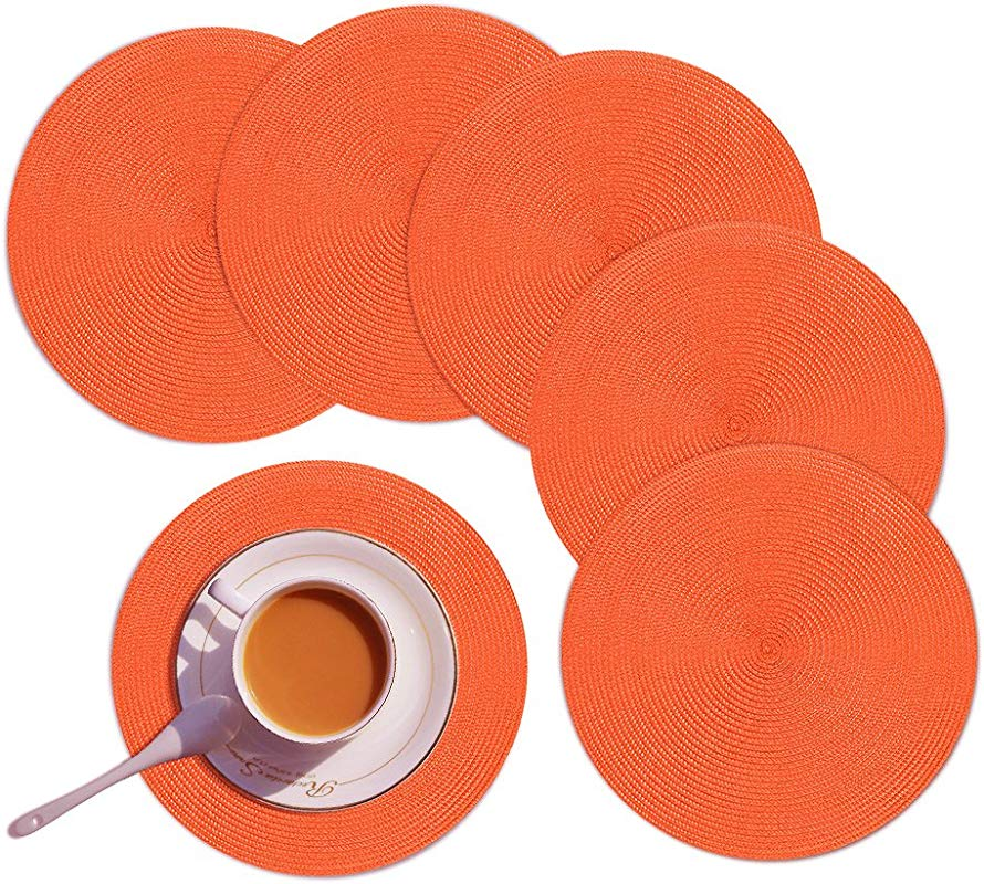 Homcomoda Round Placemats Set Of 6 Heat Resistant Round Braided Woven Place Mats For Dining Kitchen Table Orange Table Mats 15