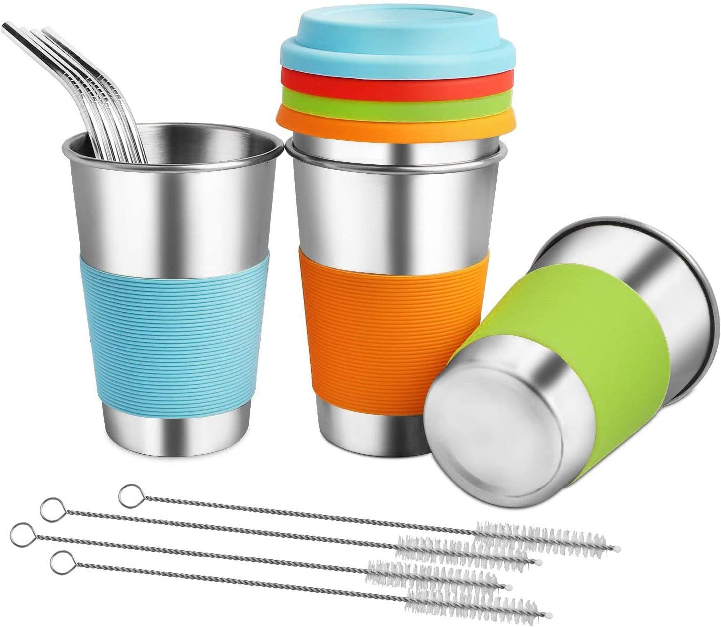 Kids Cups with Lids and 4 years warranty - Save money Sili Straws Stainless ARKTEK