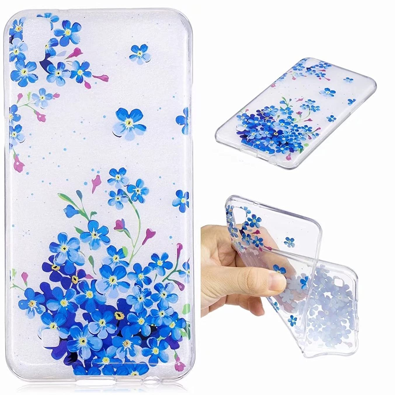 Yiizy Case Cover for LG X Power / K220DS Case, Blue Flowers Ultra Thin Clear Transparent Cover Soft TPU Silicone Skin Bumper Lightweight Rubber Protective Crystal Slim Fit Back Rear