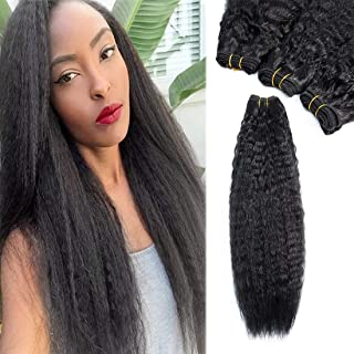 """3Pcs/pack Synthetic Kinky Straight Hair Bundles 16"""" 18"""" 20"""" Natural Black Synthetic Hair Weave Extensions"""