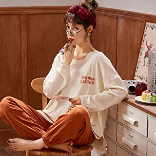 Pijama Felpa Traje Larga Holgado Suave Caliente Traje De Mujer De Algodón Puro Color A Juego Naranja De Manga Larga Estampado Ramo Mangas Sueltas con Cuello En O Pijamas Cálidos Casuales