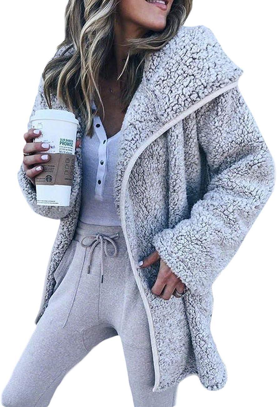 xxxiticat Women's Winter Shawl Collar Fuzzy Long Sleeve Cape Jackets Cheap Casual Oversized Wool Faux Fur Teddy Bear Coats