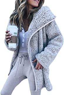 Women's Winter Shawl Collar Fuzzy Long Sleeve Zip Up Jackets Casual Oversized Wool Faux Fur Teddy Bear Coats