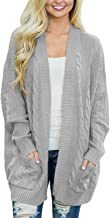 BLENCOT Womens Oversized Knit Texture Casual Loose Open Front Cardigan Sweaters with Pocket