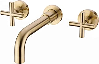 SITGES Brushed Gold Bathroom Faucet, Double Handle Wall Mount Bathroom Sink Faucet and Rough in Valve Included (Brushed Gold)