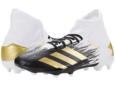 adidas Kids Predator 20.3 FG J Soccer (Little Kid/Big Kid) (Footwear White/Gold Metallic/Core Black) Kids Shoes