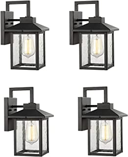 Bestshared 1-Light Wall Sconce,Outdoor Wall Mount Light Fixture, Exterior Wall Lanternwith Seeded Glass Shade (Black, 4 Pack)