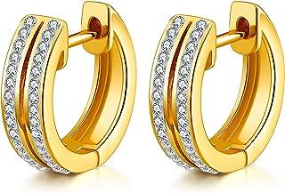 18 كيلو الذهب مطلي الكفة أقراط للنساء، صفوف مزدوجة زركونيا حجر الرجال هاغي هوب أقراط