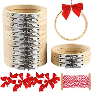 Caydo 16 Pieces 3 Inch Embroidery Hoops Kit Include Bamboo Circle Cross Stitch Hoop Ring, Bows and Cotton String for Christmas Ornaments Decoration and Art Craft Handy Sewing