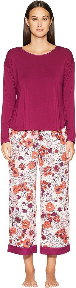 Cropped Long Sleeve Pajama Set