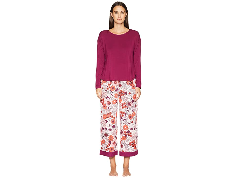 Kate Spade New York Cropped Long Sleeve Pajama Set (Multi Floral) Women