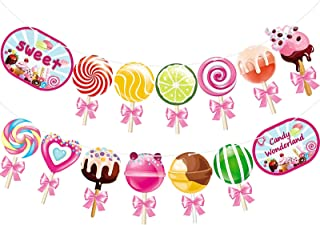 Candy Banner Lollipop Garland Candyland Party Decorations Candy Theme Cutout for Kids Girls Party Supplies, Birthday, Baby...
