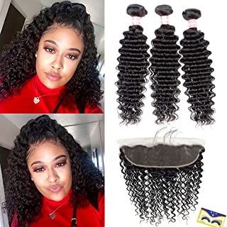 NewYou 8a Brazilian Deep Wave 3 Bundles with 13''×4'' Frontal 100% Virgin Human Hair Bundles with Ear to Ear Lace Closure Pre-Plucked with Baby Hair Free Part Natural Color (12 14 16+10 Frontal)