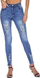 Women's Casual Ripped Jeans Distressed Denim Stretch Butt...