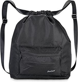 ProCase Water-Resistant Gym Bag, Quality Drawstring Backpack Unisex Sports Bag for Swimming, Surfing, Hot Spring, Travelling, Hiking and Camping -Black