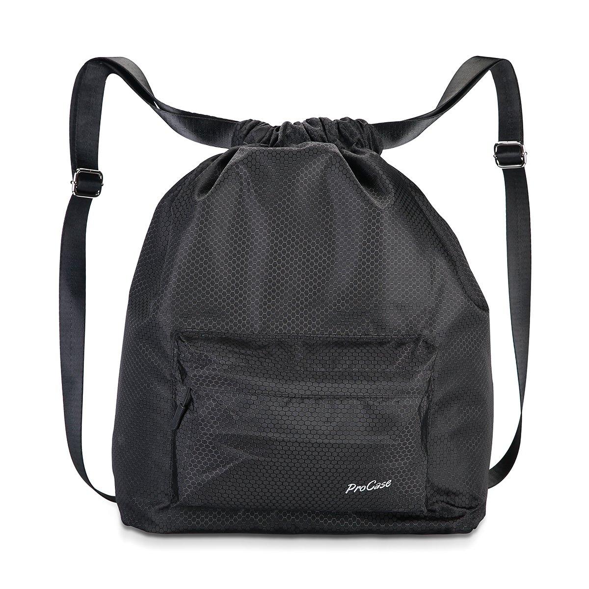 ProCase 游泳袋 健身房袋 防水抽绳背包 男女皆宜的运动装备袋 适合游泳、冲浪、热泉、旅行、徒步和露营 - 黑色