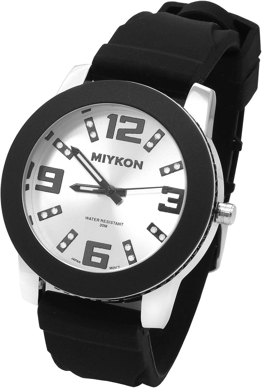 Woman's Black Super Special SALE held Silver Miykon Case Wri Quartz Silicone discount Digit