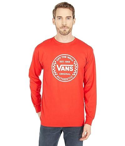 Vans Authentic Checker Long Sleeve Tee (High Risk Red) Men
