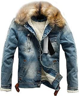 Men's Faux Fur Collar Sherpa Fleece Lined Distressed Denim Trucker Jacket