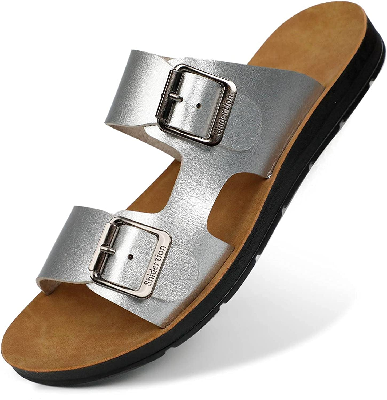 HUOHULI Women's Slides Sandals Comfort Footbed Double Buckle Adjustable Slippers Summer Non Slip Flat Sandals