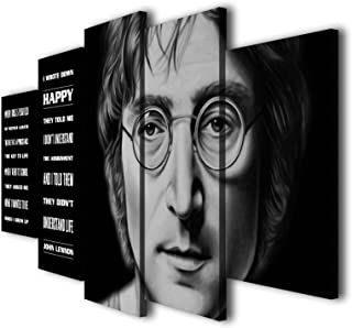Susu Art - 5 Pcs John Lennon Quotes Happiness Canvas Quotes Giclee Print Painting Picture Wall Art Home Decor Gifts (with Framed, Size 1: 8x14inx2pcs, 8x18inx2pcs, 8x22inx1pc)