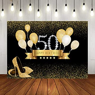 50th Happy Birthday Party Decorations for Photo Backdrops Golden Ballon and Dots Background Golden High Heels Party Banner for Adult Women Birthday Photography backdrop Happy Birthday Photo Booth Prop