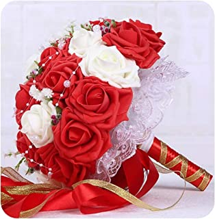 Encounter_meet 30 Rose Wedding Bouquets Handmade Bridal Flower Wedding Party Gifts Wedding Accessories Flowers Pears Beaded Ribbon,Red Plus White