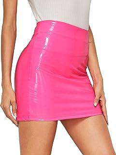 Women's Neon Zip Back Leather Skirt PU Bodycon Short Mini Skirt