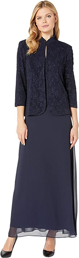 Long Jacquard Knit Jacket Dress with Mandarin Collar Jacket
