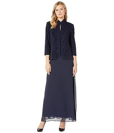 Alex Evenings Long Jacquard Knit Jacket Dress with Mandarin Collar Jacket (Navy) Women