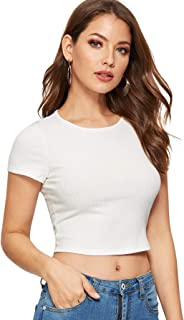 Women's Basic Short Sleeve Scoop Neck Crop Top