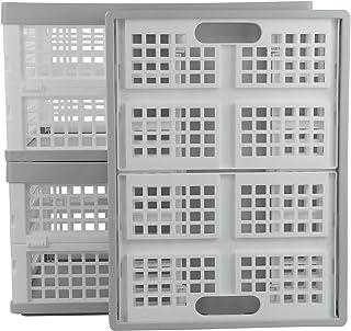Kiddream Set of 3 Plastic Collapsible Storage Crates Stackable Basket Bin, 30 Liter