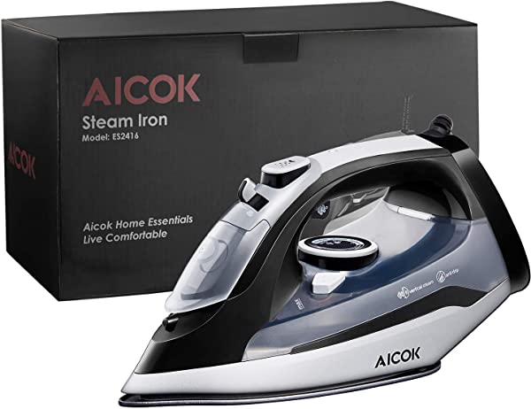 AICOK Steam Iron 1400W Non Stick Soleplate Iron For Clothes Variable Temperature And Steam Control Anti Drip Rapid Heating Black