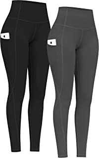PHISOCKAT 2 Pack High Waist Yoga Pants with Pockets,  Tummy Control Yoga Pants for Women,  Workout 4 Way Stretch Yoga Leggings